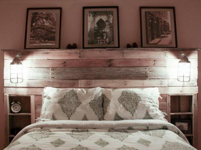 Wooden Headboard With Shelves